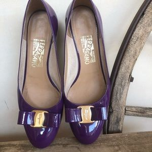 SALVATORE FERRAGAMO Purple Leather Bow Low Heels